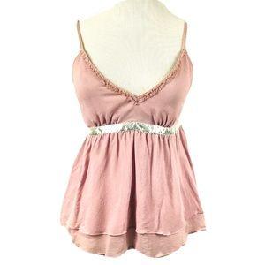 EXPRESS Silk Rose Pink Babydoll Ruffled Tank Cami